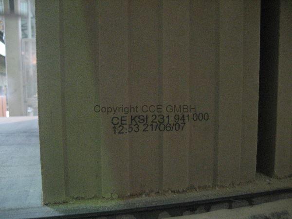 Beschriftung bzw. Kennzeichnung von Kalksandstein