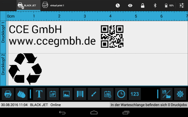 Thermoinkjet TABjet, Software Android