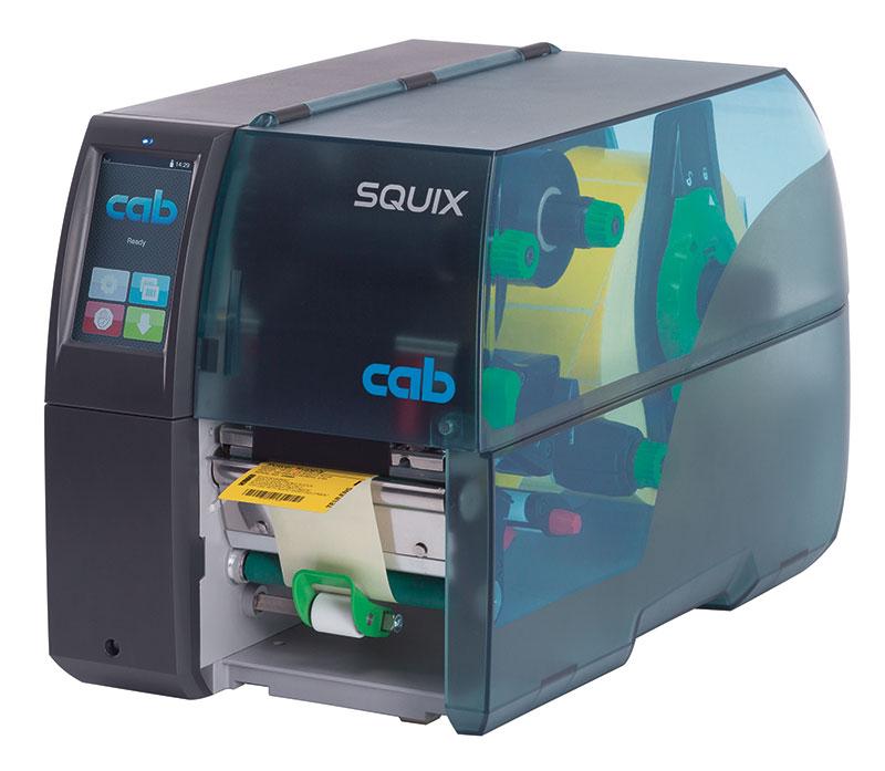 Etikettendrucker SQUIX 4M mit zentrierter Materialführung Spendeversion