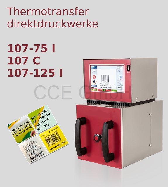 Thermotransferdirektdruckwerk 107mm Druckbreite. Getaktet oder Kontinuierlich