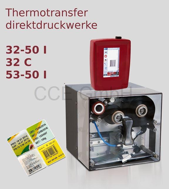 Thermotransferdirektdruckwerk 32mm oder 53mm Druckbreite. Getaktet oder Kontinuierlich
