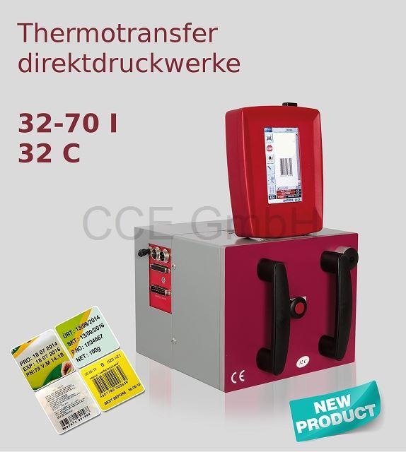 Thermotransferdirektdruckwerk 32mm Druckbreite. Getaktet oder Kontinuierlich