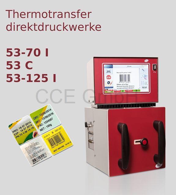 Thermotransferdirektdruckwerk 53mm Druckbreite. Getaktet oder Kontinuierlich